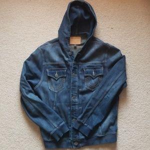 Mens XL True religion hooded denim jacket